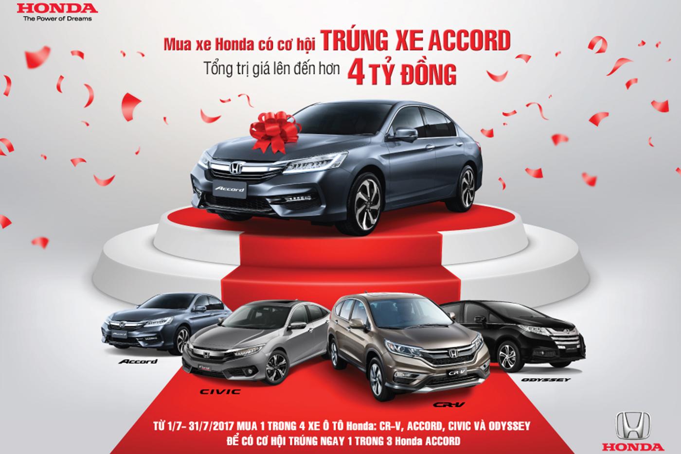 Cơ hội trúng Honda Accord khi mua xe Honda trong tháng 7